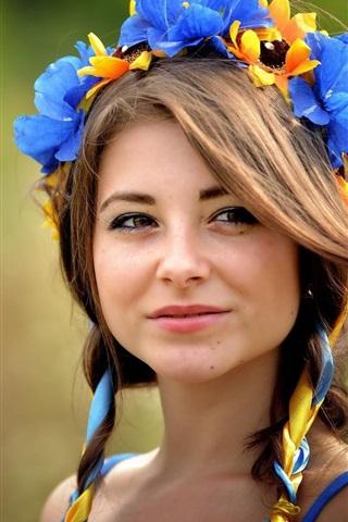 iPhone Wallpaper Ukrainian, brown-eyed girl, wreath