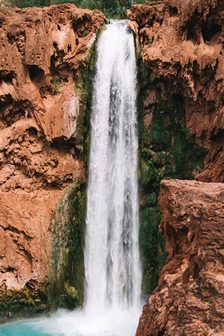 iPhone Wallpaper Waterfall, precipice, stones, nature landscape