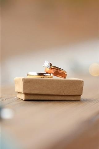iPhone Wallpaper Wedding rings, diamond