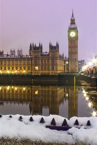 iPhone Wallpaper Whitehall, London, England, city, winter, snow