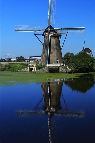 iPhone Wallpaper Windmill, Netherlands, channel, water, blue sky