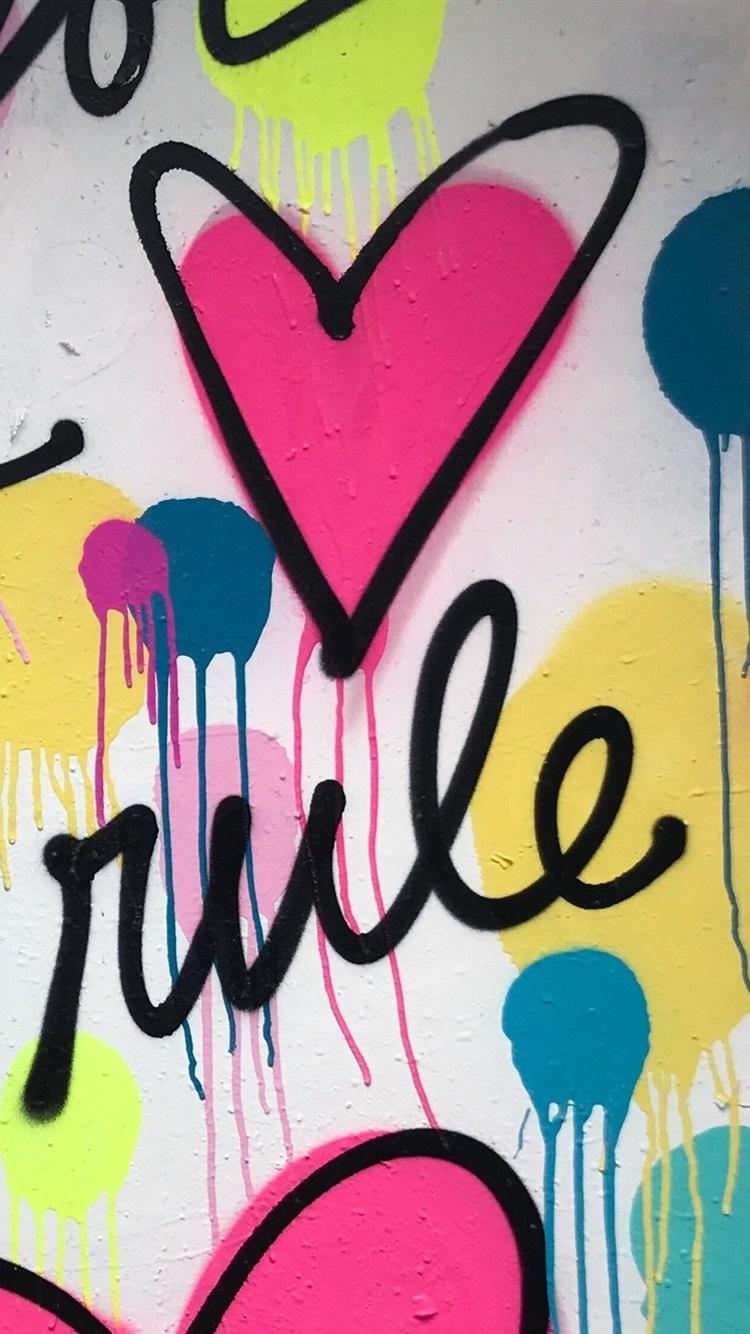 Dibujo De Arte Graffiti Pared Corazón De Amor 750x1334