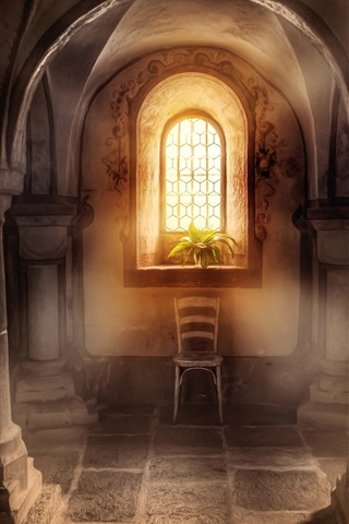iPhone Wallpaper Basilica, columns, window, sunshine, plants
