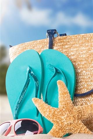 iPhone Wallpaper Beach, bottle, starfish, bag, sands
