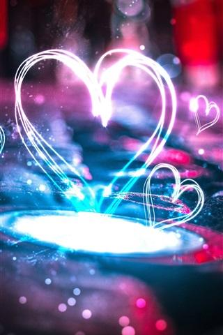 iPhone Wallpaper Beautiful love hearts light
