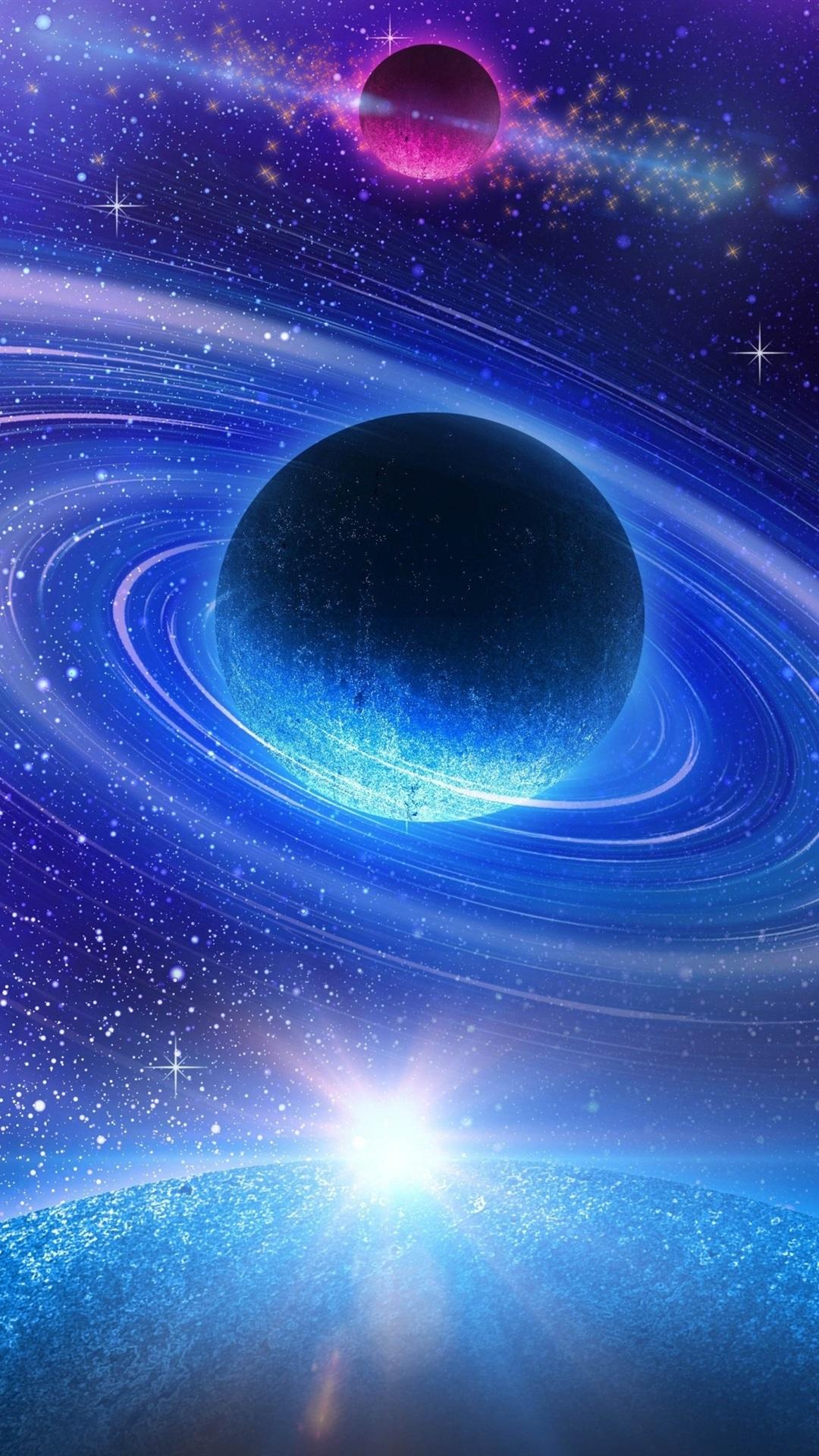 美しい宇宙 青い惑星 1080x1920 Iphone 8 7 6 6s Plus 壁紙 背景 画像
