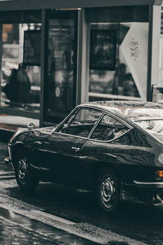 iPhone Wallpaper Black car run in the rain, road, speed
