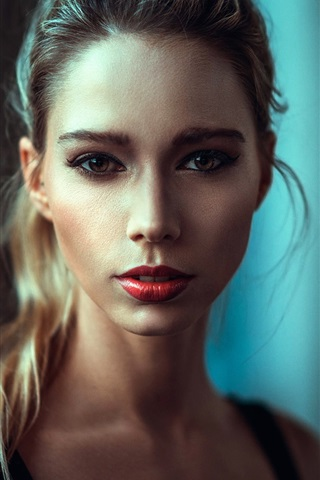 iPhone Wallpaper Blonde girl, makeup, portrait