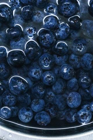 iPhone Wallpaper Blueberries, bowl, water, fruit