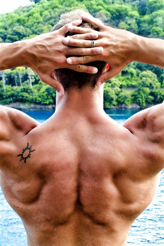 iPhone Wallpaper Bodybuilder, back view, man, muscle