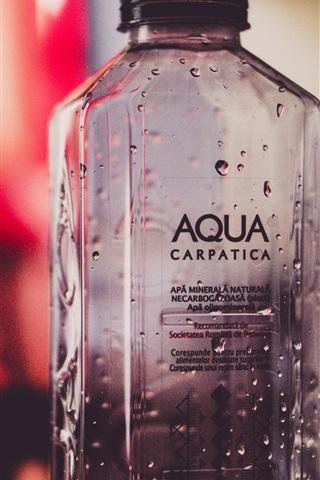 iPhone Wallpaper Bottle, water drops, bokeh