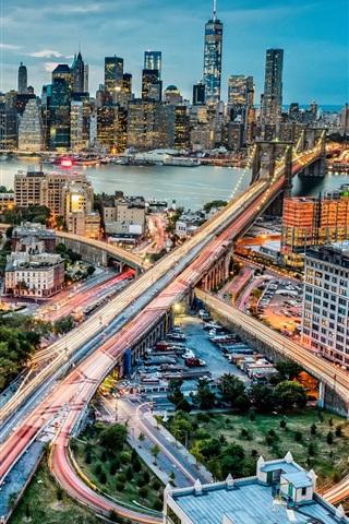 iPhone Wallpaper Brooklyn Bridge, Manhattan, New York, USA, city, lights, buildings, dusk