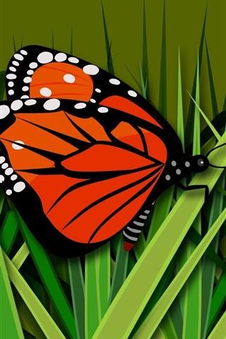 iPhone Wallpaper Butterfly, grass, vector