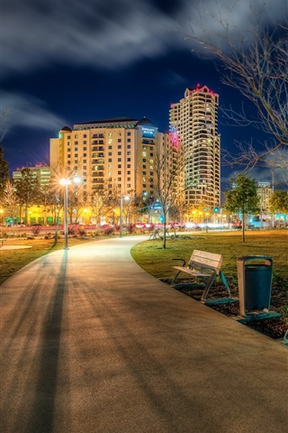 California San Diego Usa Ruocco Park City Road Lights Night 750x1334 Iphone 8 7 6 6s Wallpaper Background Picture Image