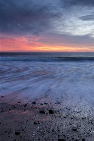iPhone Wallpaper California, sea, sunset, beach, clouds, USA