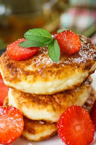 iPhone Wallpaper Cheesecake, strawberry, breakfast