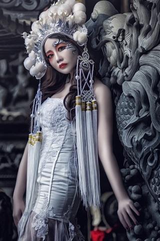 iPhone Wallpaper China Opera actress, girl, makeup, head decoration