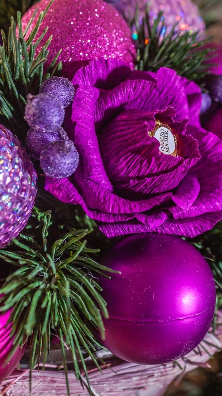 クリスマスボール キャンディ パープルスタイル 750x1334 Iphone 8 7
