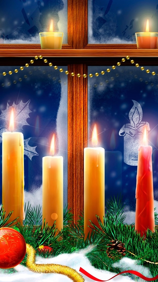 Christmas Window Candles Flame Spruce Twigs Snow