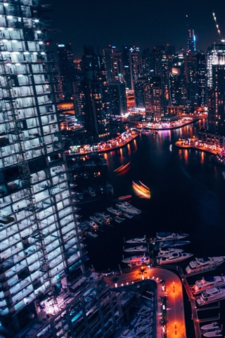 iPhone Wallpaper City, night, skyscrapers, lights, river, boats, top view
