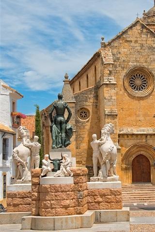 iPhone Wallpaper Cordoba, Spain, church, houses, statues, sky