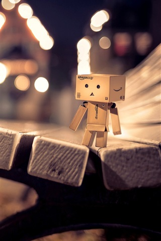 iPhone Wallpaper Danbo, bench, night