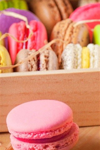 iPhone Wallpaper Delicious almond macarons, colors