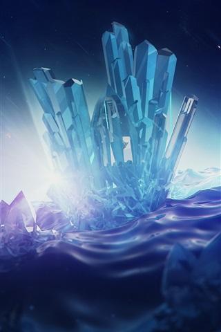 iPhone Wallpaper Digital rendering, crystals