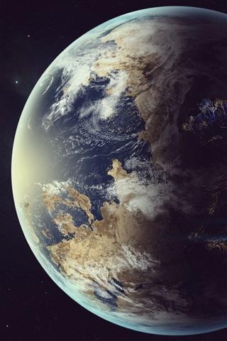 iPhone Обои Земля, луна, космический корабль, космос
