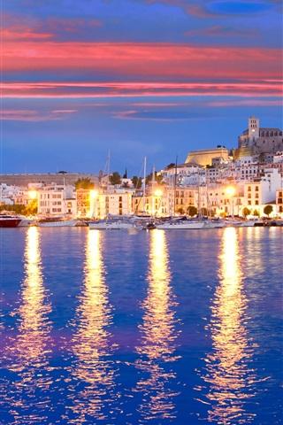 iPhone Wallpaper Eivissa, Spain, pier, yacht, bay, sea, houses, lights, night