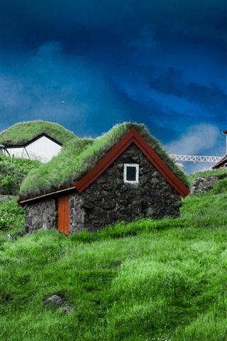 iPhone Wallpaper Faroe Islands, slope, houses, grass, stones, Denmark