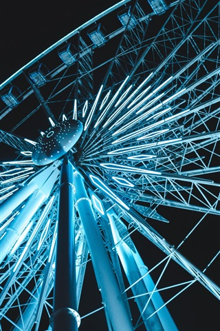 iPhone Wallpaper Ferris wheel illumination, night view