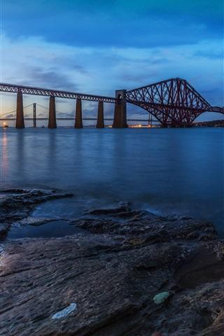 iPhone Wallpaper Forth Rail Bridge, Scotland, evening, river, sunset