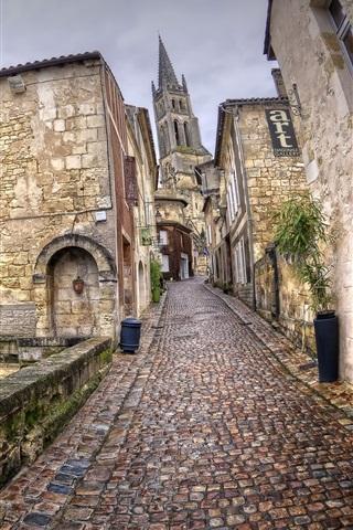 iPhone Wallpaper France, Aquitaine, Saint-Emilion, city, street, houses