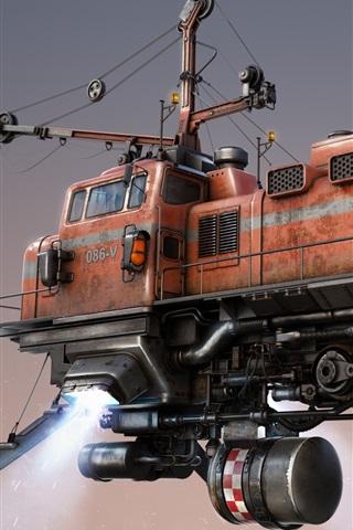 iPhone Wallpaper Freight train, flighting, art design