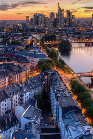 iPhone Wallpaper Germany, Frankfurt, river, bridge, city, dusk, lights