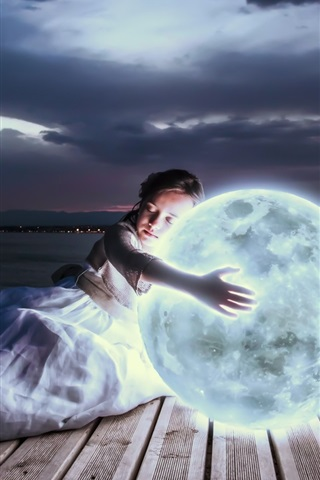 iPhone Wallpaper Girl hug moon to sleep, art photography