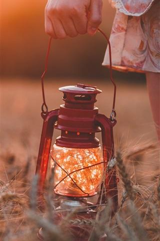 iPhone Wallpaper Grass, lamp light, hand
