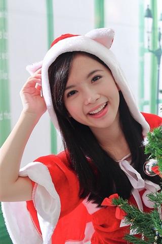 iPhone Wallpaper Happy Asian girl, Christmas dress
