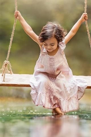 iPhone Wallpaper Happy little girl play swing, water