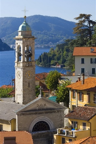 iPhone Wallpaper Italy, Menaggio, city, houses, lake