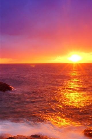 iPhone Wallpaper Japan, beautiful sunset, sea, waves