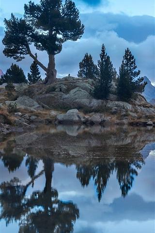 iPhone Wallpaper Lake, rocks, trees, mountains, clouds, dusk