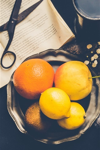 iPhone Wallpaper Lemon, oranges, eggs, coffee, book, scissors