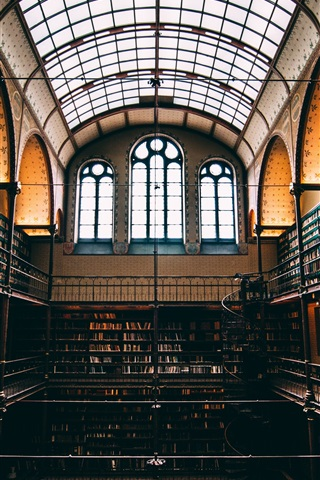 iPhone Wallpaper Library interior, lots books, window
