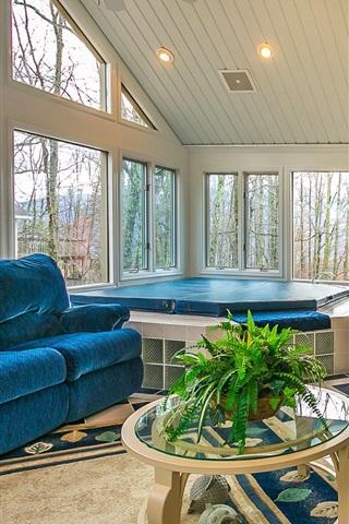 iPhone Wallpaper Living room, sofa, window, bright