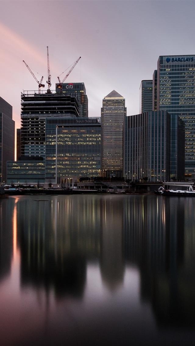 Wallpaper London England Canary Wharf Twilight Sunset