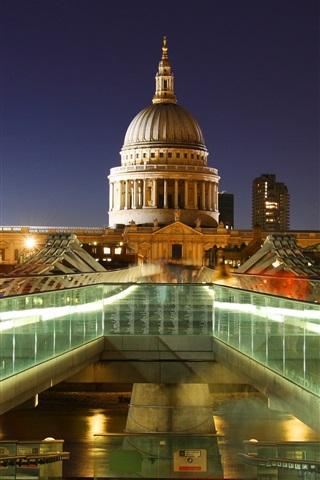 iPhone Wallpaper London, England, capital, St. Paul's Cathedral, lights, night