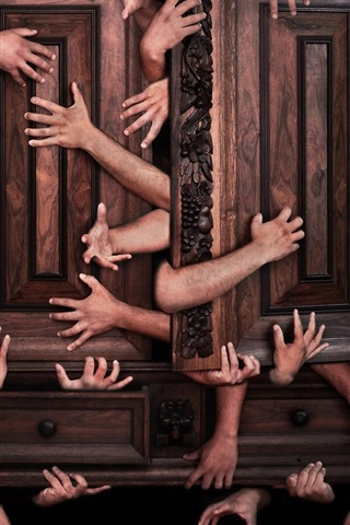 iPhone Wallpaper Many hands, cabinet, creative picture