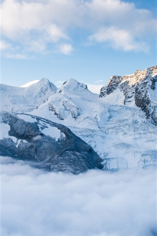 iPhone Wallpaper Mountains, snow, fog, clouds, sky